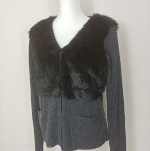 Vera Wang fur vest sweater L black Gray Career
